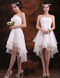 thuiskomst asymmetrische chiffon bruidsmeisje jurk - ruby / wit / champagne a-lijn strapless