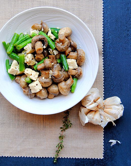 Low-carb veggies: Marinated Mushrooms, Beans & Feta...I'm going to alter this to make it with grilled asparagus!