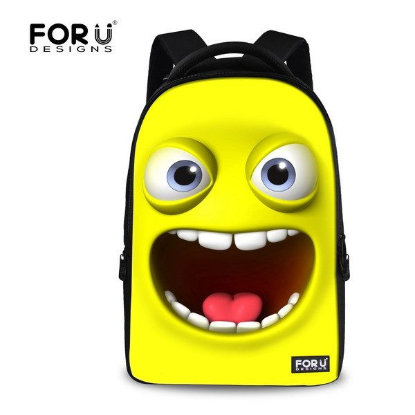 2017 hot sale men's travel bags student school bags 3D print smile face bag emoji backpacks for teenager cartoon boys schoolbag