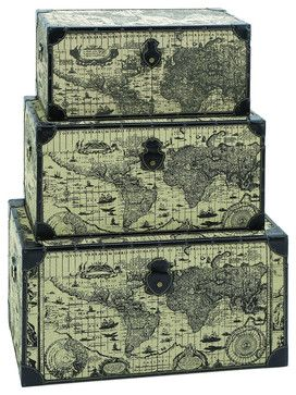 Travel Steamer Trunk Set With Ancient World Map traditional-decorative-trunks