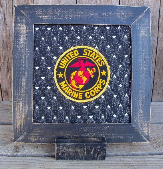 Framed US Marine Corps Emblem Patch Stitchery by WanderingWhimsies
