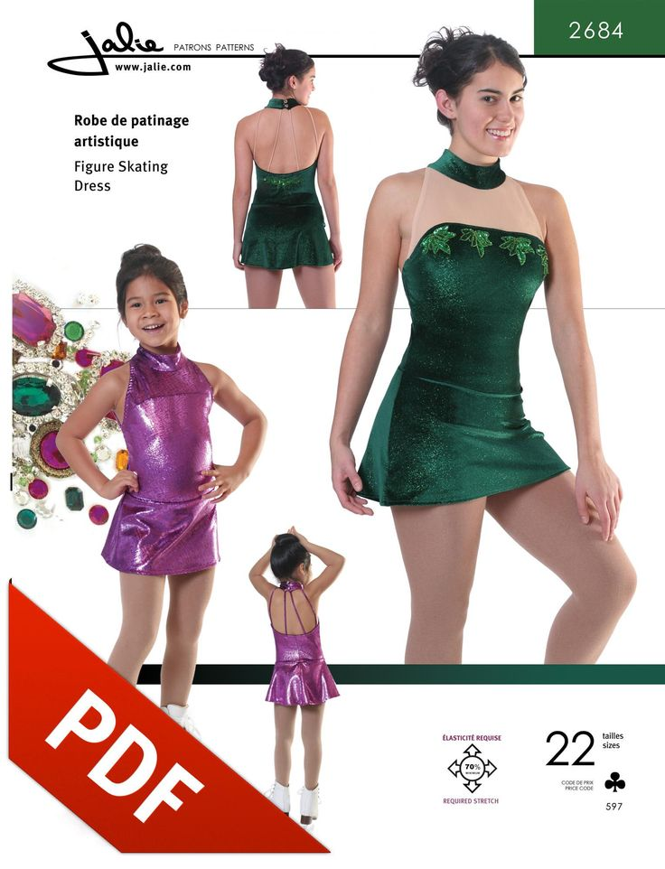 Out-of-Print Jalie 2684 - Mock Neck Skating Dress Pattern - Now available as a PDF Pattern