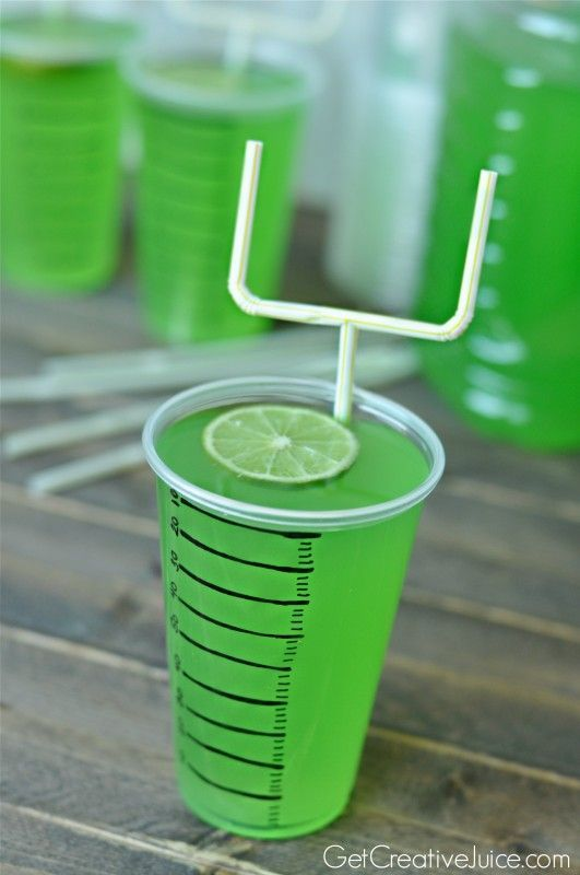 Super Bowl party drink ideas - Goal Post Straws and Field marking cups!