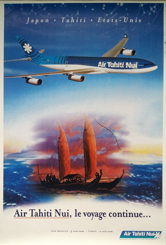1990s Air Tahiti Nui Travel Poster  Original by OutofCopenhagen