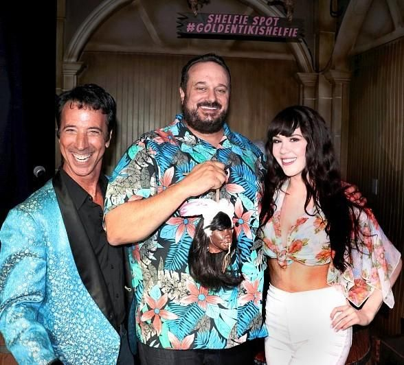 """Playboy Playmate Claire Sinclair and Comedian Monti Rock III Help The Golden Tiki Celebrate 2 Year """"Terrible Twos"""" Anniversary (Pictured: Tony Felicetta, Branden Powers and Claire Sinclair with Sinclair's shrunken head – Photo credit: Madison Freedle)."""