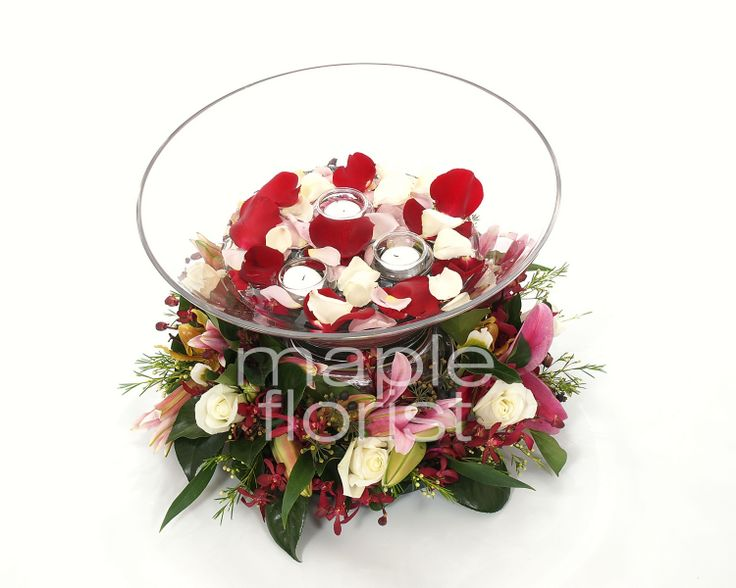 Our Float Bowls with Flowers from Maple Florist - Elizabeth & Victoria Rooms, Cropley House