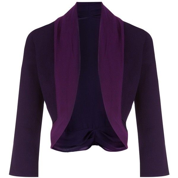 Jacques Vert Chiffon Knit Trim Bolero (110 BRL) ❤ liked on Polyvore featuring outerwear, jackets, bolero, purple, clearance, 3/4 sleeve jacket, chiffon bolero, jacques vert, purple bolero jacket y chiffon jacket