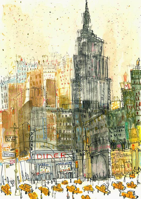 Empire State Diner New York City - Signed Limited Edition Print from mixed-media painting /Empire State Building / nyc taxis/Clare Caulfield