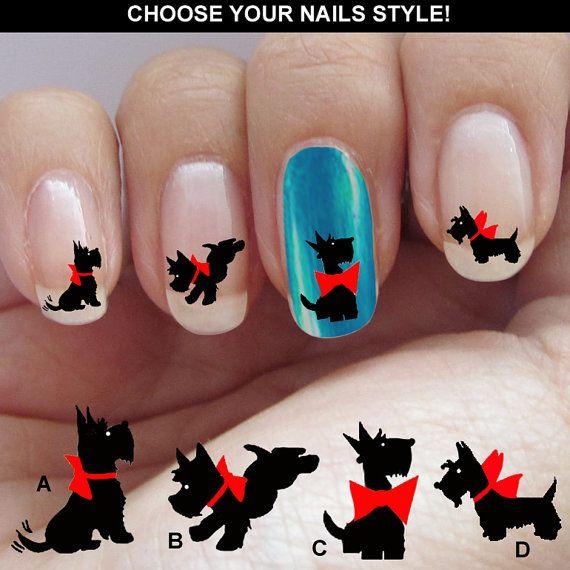Scottish Terrier Terrier nail decal Waterslide di nailstarworld, $5.90
