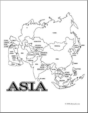 Clip Art: Asia Map (coloring page) Labeled   preview 1 | The King