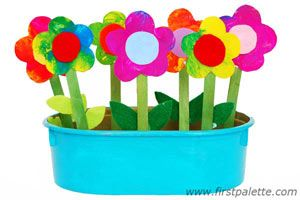 Discover the possibilities of painting with plastic wrap in this color learning flower craft.