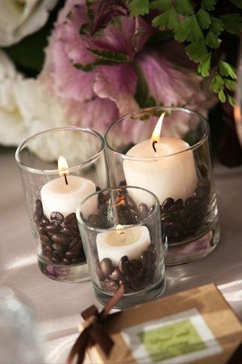 grãos de café para decorar velas