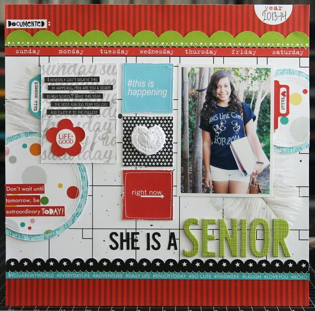 #papercraft #scrapbook #layout  Senior Year Scrapbook Page