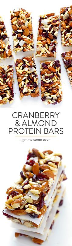 Cranberry Almond Protein Bars Recipe -- easy to make at home, super tasty, and much more affordable than store-bought fruit and nut bars | gimmesomeoven.com