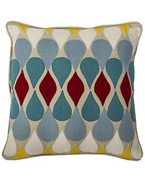 """Raindrop Blue"" Decorative Pillow"