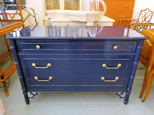 Lacquered FAUX BAMBOO Chest in Navy for the Bedroom ;)