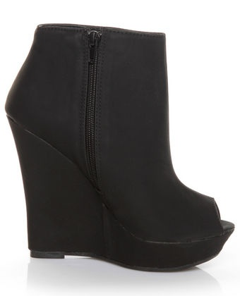 Peep toe wedge booties, only $44 from Lulu's?!? Yes, please.