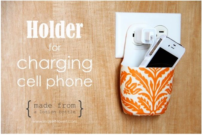 Ingenious holder for charging cell phone made from discarded lotion bottle