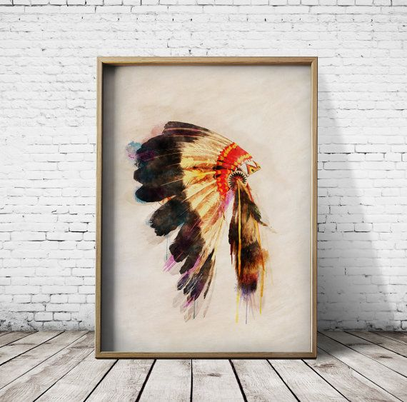Digital Download Native American Head Dress Printable Art Digital Prints Watercolor Prints Nursery Prints