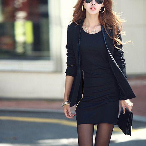 Fashion Round Neck Long Sleeve Slim Fit Dress