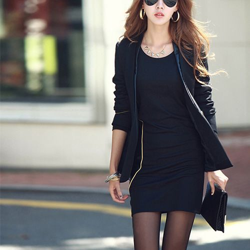 Fashion Round Neck Long Sleeve Slim Fit Dress