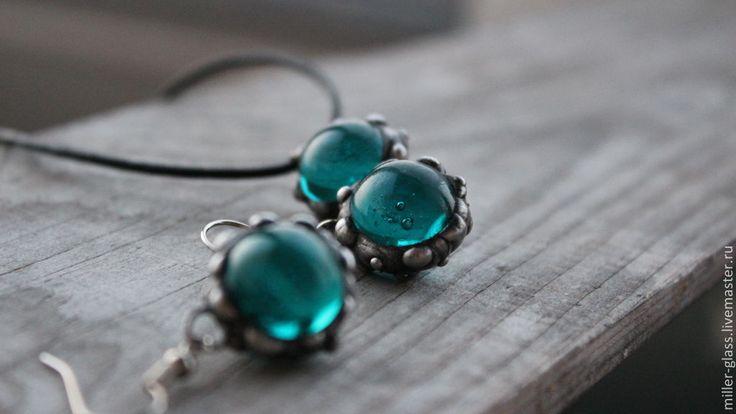"""Купить Комплект """"Сине-зеленый"""" стекло - морская волна, серьги из стекла, сине-зеленый"""