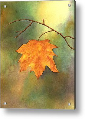 Fall Leaves Paintings Acrylic Prints - The Last Leaf Acrylic Print by Gladys Folkers