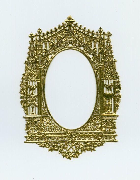 DRESDEN FRAME  AltarStyle Gold Oval Frame by OneDayLongAgo on Etsy, $4.80