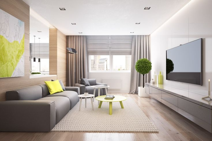 The final home is a return to Voytov's typical style, with minimal furnishings and fussing. The cool gray theme in the living room, which contrasts with electric yellow paintings and other accessories.