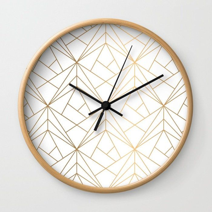 Geometric Gold Pattern Wall Clock Bohemian Wall Clock Gold Wall