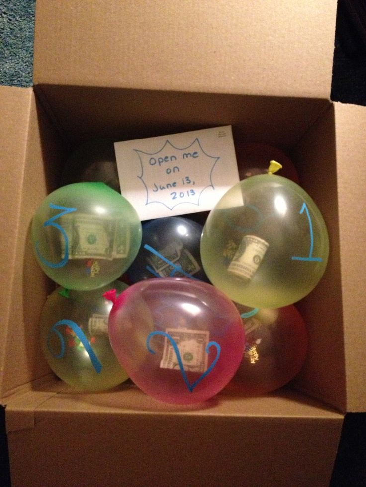Long distance birthday gift for my 13 year old son.  He was born on the thirteenth so there were 13 balloons all labeled with a number.  His instructions were to pop 1 balloon per day all the way up to the big 13.  Each balloon contained a different denomination of $$$ and lots of confetti; so when he popped it, it was like a mini party each day :)  He LOVED it!  Plus it was super cheap to mail to Florida!!!!