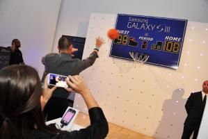 "As a way to demonstrate the phone's ""burst shot,"" a feature that takes three images a second, guests could throw a basketball while a staffer took photos. The photos were then printed out as a take-home item."