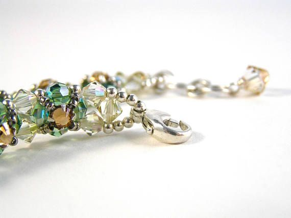 Vintage Rhinestone Flower Bracelet  Beadweaving  Swarovski