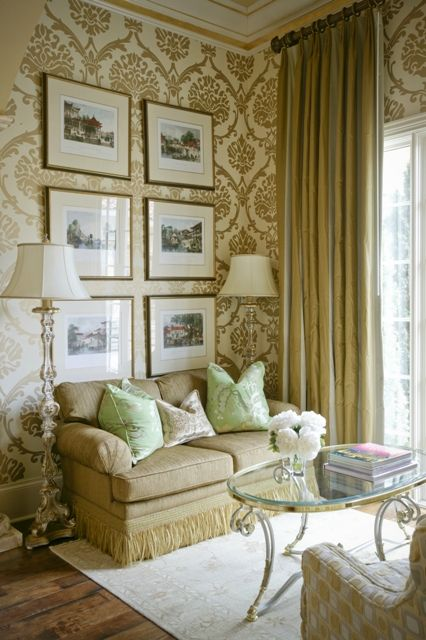 The gold #framed prints work perfectly with the Damask wallpaper