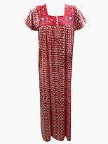 Sleepwear Embroidered Nightgown Maxi Cotton Dress Maroon Boho Gypsy Caftan | eBay