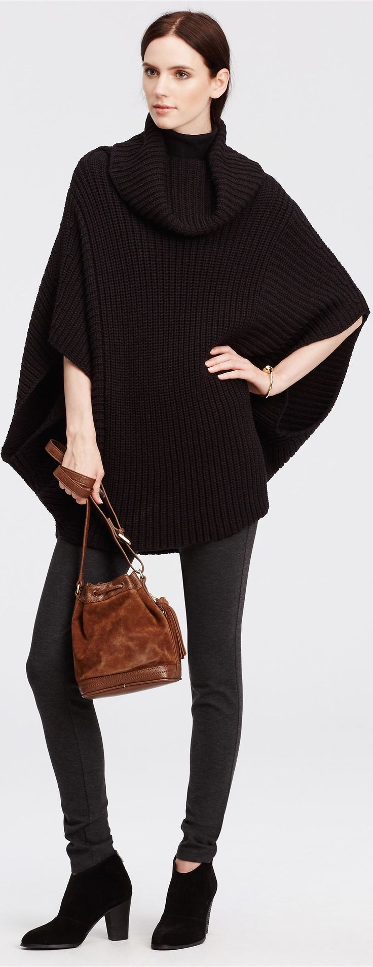 Casual Friday Outfit Ideas: The Never-Goes-Out-Of-Style Black Poncho