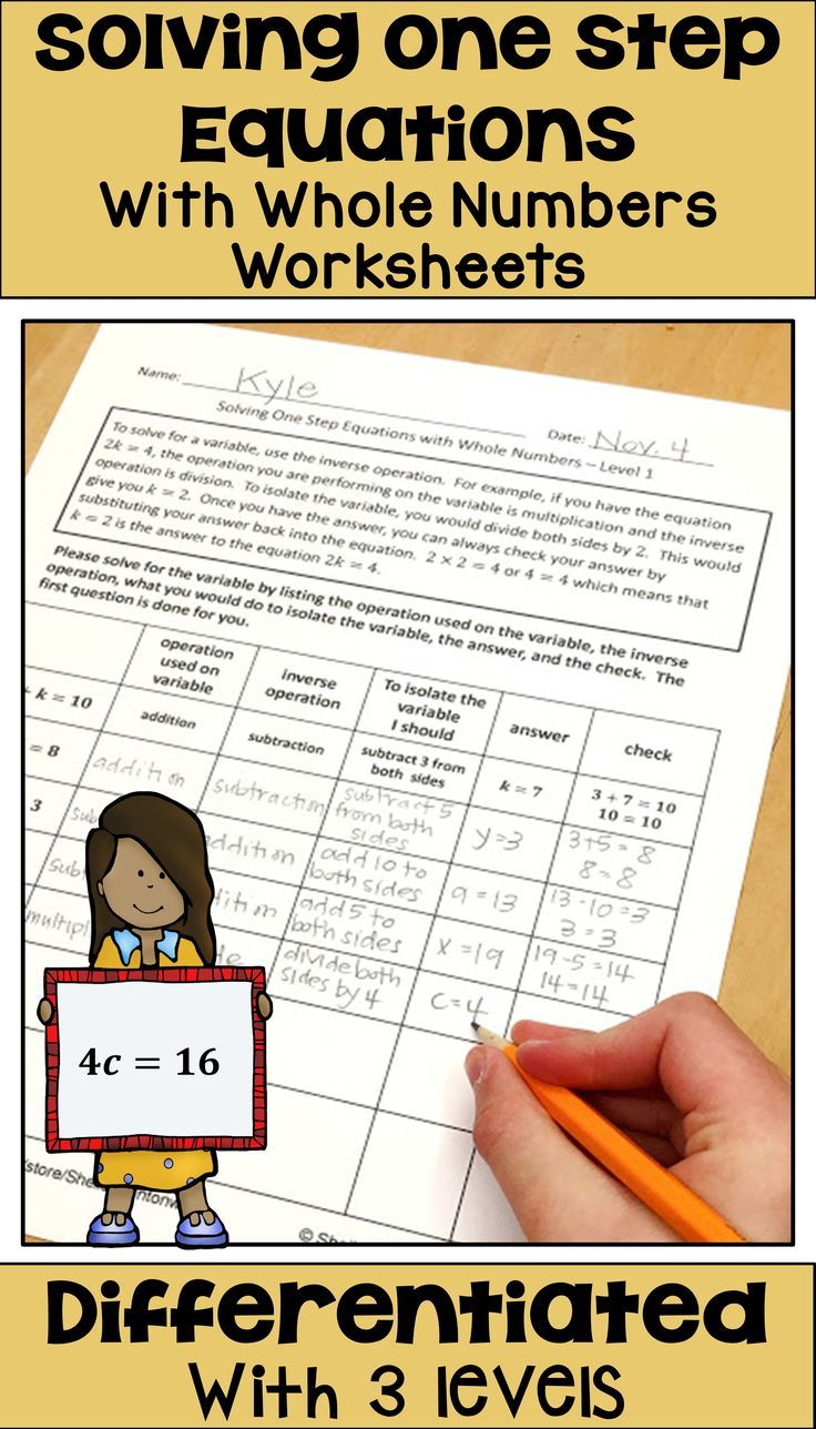One Step Equations With Whole Numbers Worksheets Digital And Printable One Step Equations Equations Math Centers Middle School
