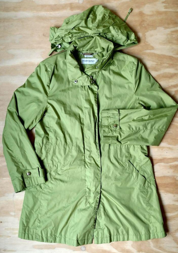 Hilary Radley NY Anorak Rain Jacket Packable Green Hood Spring Small S *read #HilaryRadley #Raincoat