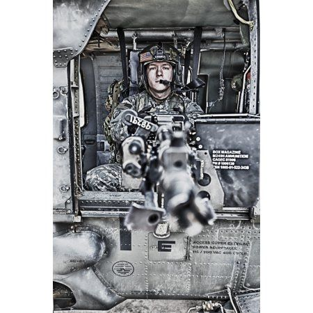HDR image of a UH-60 Black Hawk door gunner manning a M240 machine gun Canvas Art - Terry MooreStocktrek Images (12 x 18)