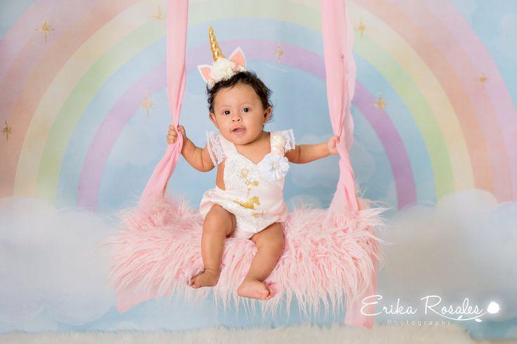 Baby milestone, six month baby girl photo session unicorn ...