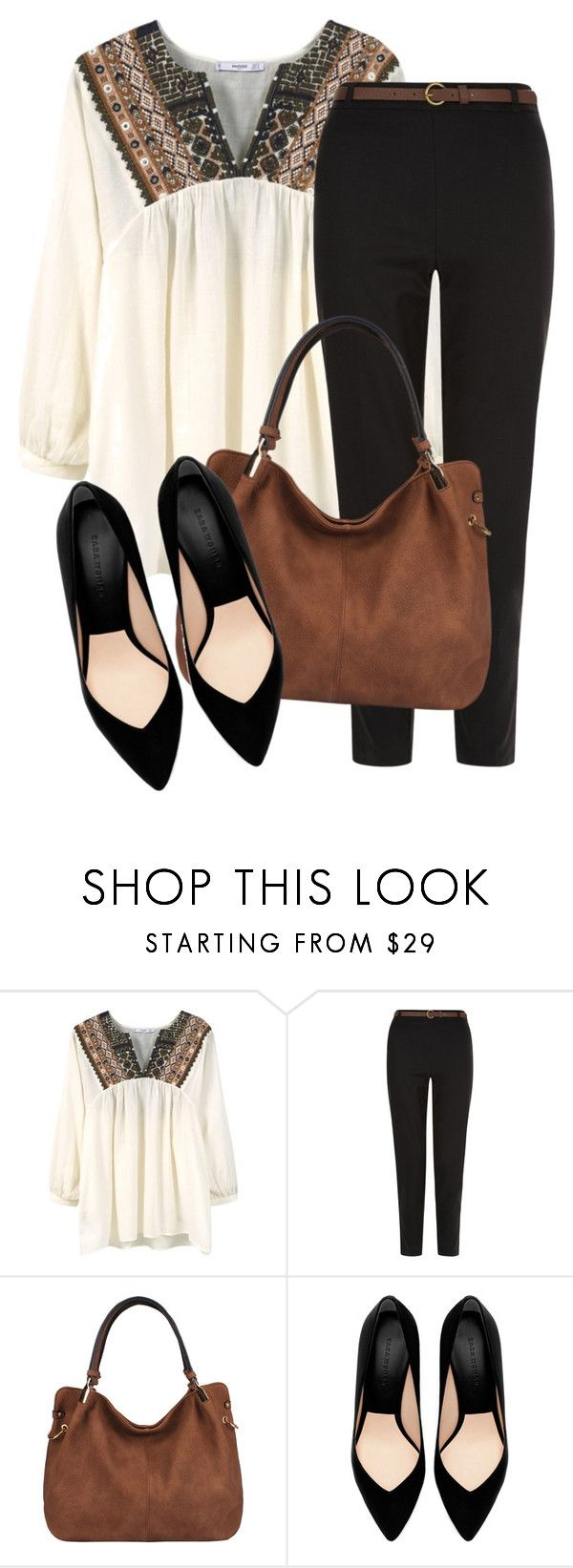 """""""Untitled #761"""" by dd-christina ❤ liked on Polyvore featuring MANGO, New Look, Handbag Republic and Zara"""