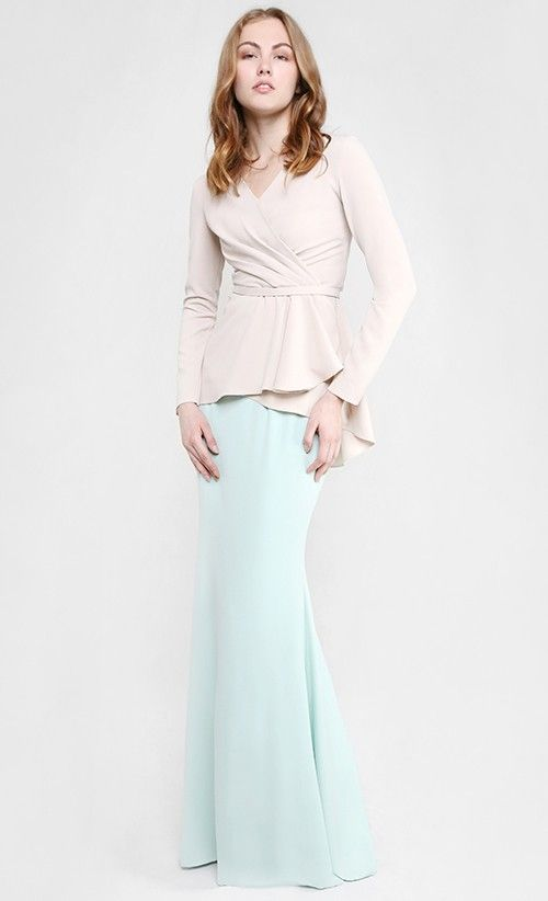 Lara Modern Draping Two-Piece Kurung in Beige and Mint Green | FashionValet