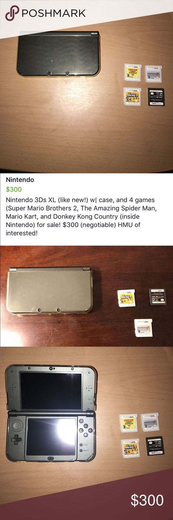 Nintendo 3Ds XL Mint condition Nintendo 3Ds XL with cover and 4 games (Super Mario Bros 2, Donkey Kong Country Returns, Mario Kart 7, & The Amazing Spider-Man) with charger! Nintendo Other