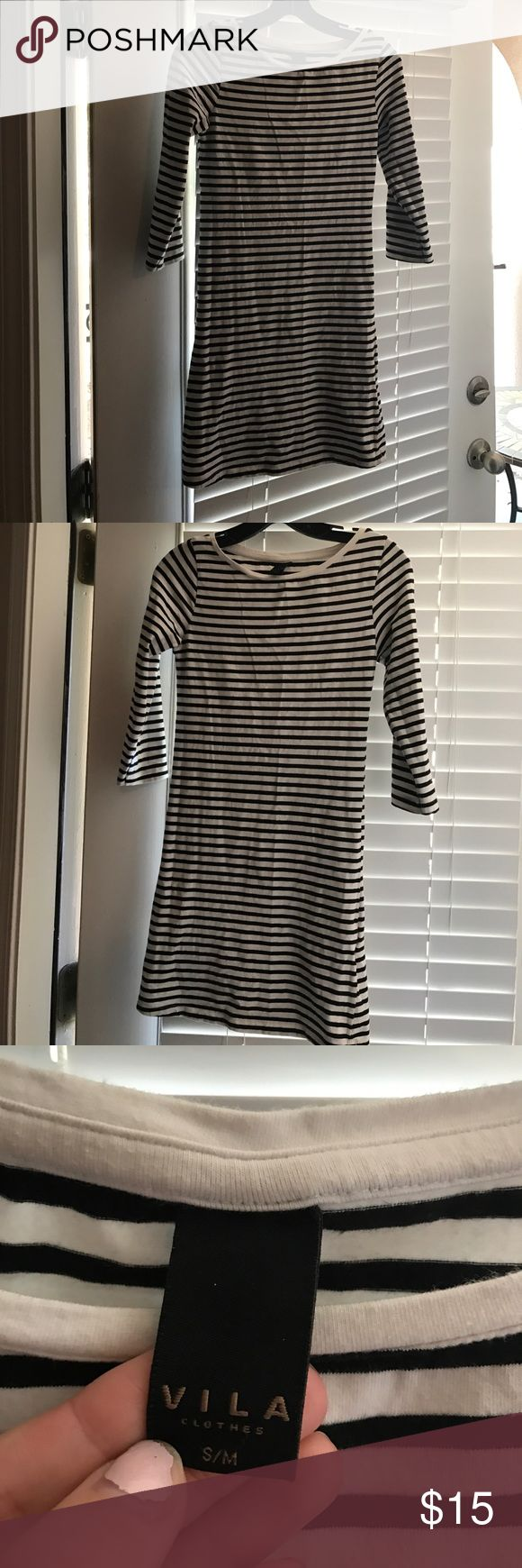 Villa nautical black & white stripe mini dress Super cute dress! Can be worn with wedges or sandals for the perfect summer look! Villa Dresses Mini