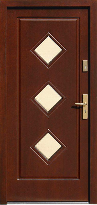 Drewniane wejściowe drzwi zewnętrzne do domu z katalogu modeli klasycznych wzór 683,1