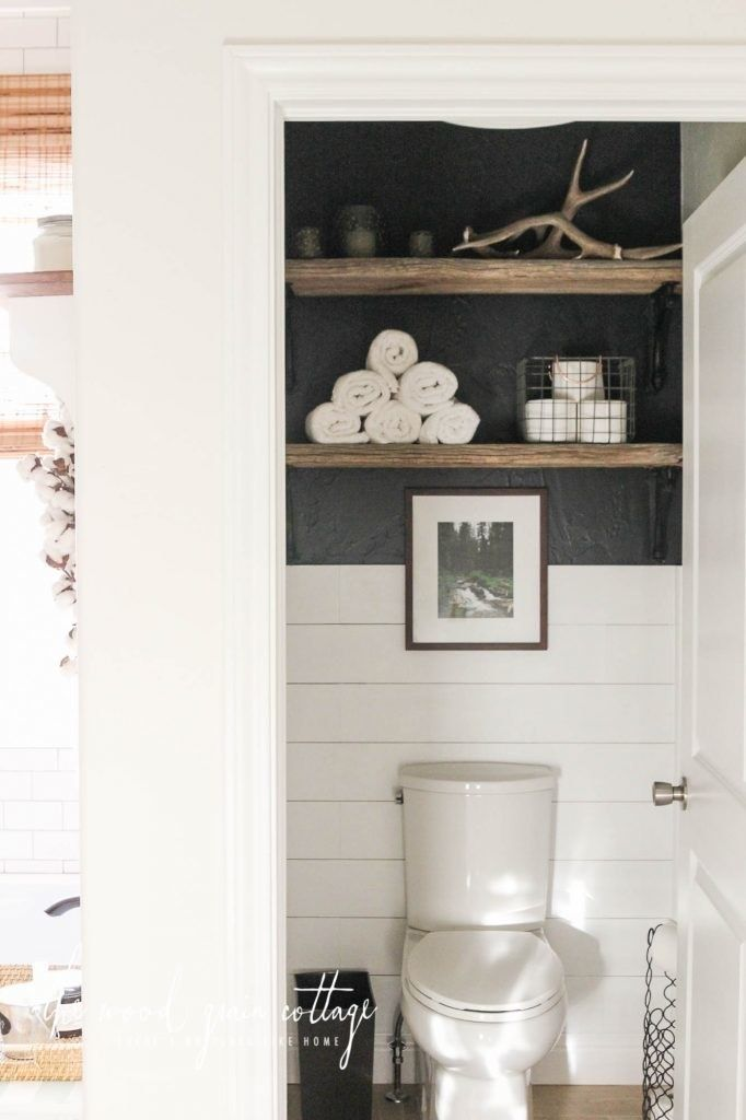 Hang shelves above your toilet to create extra storage space. 14 Bathroom Reno I…   – Basement