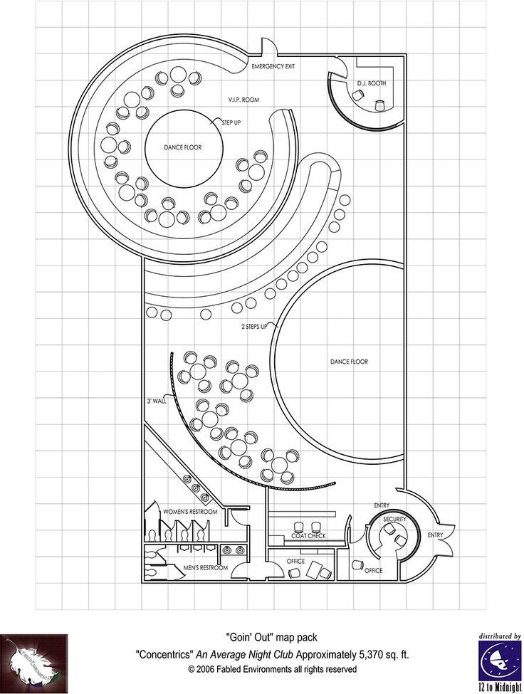 Modern Floorplans: Nightclub   Fabled Environments | | Modern  FloorplansDriveThruRPG.com | Gaming | Pinterest | Environment, Modern And  Hotel Lobby Design