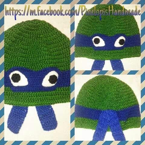 Crochet blue ninja turtle!  https://m.facebook.com/PinelopisHandmade/