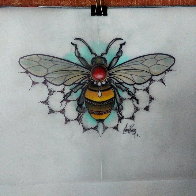 Neo traditional bee design by Amy Rose