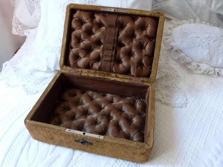 Antique brown velvet wooden sewing box rare 1800s French jewelry trinket box keepsake box w silk padded cushion boudoir decor sewing tools by MyFrenchAntiqueShop on Etsy